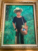 Vintage Mexican Peasant Bird Boy Outsider Art Signed Oil Painting Framed
