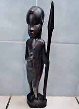 statuetteafricaine- bois d'ébène-femme massaï avec lance-art populaire- XX ème