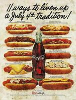 COCA COLA JULY 4TH HOT DOG RECIPES HEAVY DUTY USA MADE METAL ADVERTISING SIGN