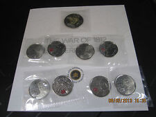 CANADA WAR 1812 COMPLETE SET OF 9 COINS AND TRI-FOLDER COLLECTOR CARD