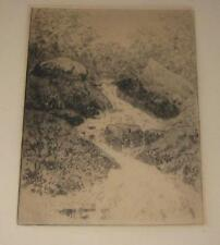 J.E. BOURQUIN LISTED RIVER WATERFALL LANDSCAPE ETCHING