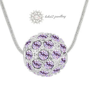 Simulated Diamond/Crystal Sphere Pendant Necklace/Clear/Purple/RGN251S/250S/E269