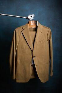 Drake's Olive Brushed Cotton Suit 38R IT48 X 32 Waist - temporary price drop