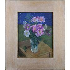 Firmato incorniciato originale moderno 90s a fiori natura morta dipinto ad olio fiori primavera