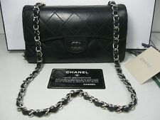 Authentic Chanel Black Lambskin Leather CC Long 2.55 Classic Flap Bag Clutch