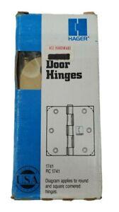 Door Hinge Set by Hanger 3.5 Inch Rounded Corner Hinge Brass NOS