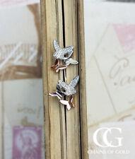9ct due COLORE WHITE ROSE GOLD & Diamante Orecchini a Perno Farfalla