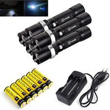 5 PCS 5000LM 3Modes XM-L T6 LED Taschenlampe+ 6X 6000mah 18650 Akku EU Ladegerät