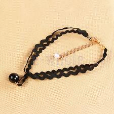 Punk lace bead Velvet Leather lace Tattoo Necklace cz pendant K6