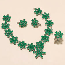 Natural Zambian Emerald Necklace Ring 925Sterling Silver Engagement Fine Jewelry