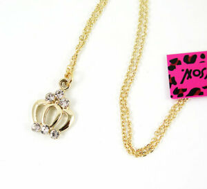 New Pendant Fashion Betsey Johnson Rhinestone Crown Gold Necklace Lady's Women