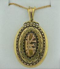 Large English 15K Victorian Locket Monogramed Rose & Yellow Gold