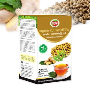 Ginger-Coriander Tea | 100% Natural Ayurvedic Herbal Ceylon Tea | 20 Tea Bags