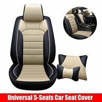 Front + Rear Universal PU Leather 5-Seats Full Car Seat Cover Cushion Set Beige
