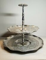 Vntg 2 Tiered Hammered Aluminum Fluted Dessert/Tidbit Trays W/Easy Move Handle