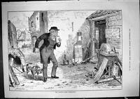 Old Print 1881 Queen'S Taxes Hesitation Office Beware The Dog Blacksmith 19th