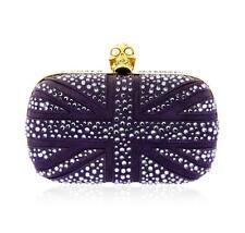 Alexander McQueen Purple Suede Jewel Embroidered Clutch Lot 183
