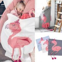 Kid Baby Soft Towel Quilt Throw Wrap Beach Towel Round Pink Flamingo Blanket Mat