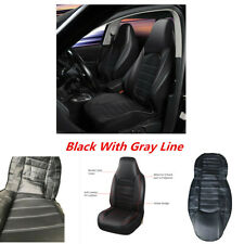 Black With Gray Line Sport Style Car Front Seat Covers For High Back Bucket Seat