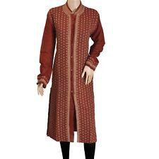Sanskriti New Dark Red Long Top Pure Cotton Fabric Hand Embroidered Ethnic Kurta