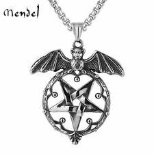 MENDEL Stainless Steel Mens Gothic Wiccan Satanic Pentagram Bat Pendant Necklace