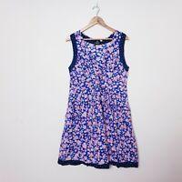 Rasaleela Size L Large Blue Pink Floral Fit & Flare Dress