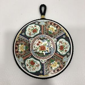 """Ceramic Wall Plaque European Style Colorful Flowers Decor Rope Wall Hanging 5.5"""""""