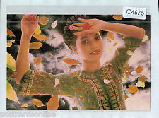 C4675xryt Singapore Airlines Girl Autumn leaves postcard