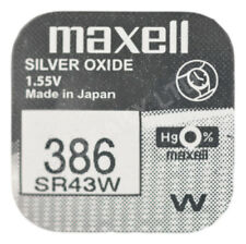 GENUINE Maxell 386 SR43W Silver Oxide Watch Battery 1.55v [1-pack]