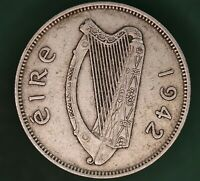 1942 Ireland Eire Irish florin two shilling coin 75% silver coin *[17660]