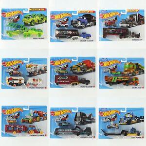 Hot Wheels Super Rigs Trucks 1:64 Scale Diecast Truck Trailer and Car