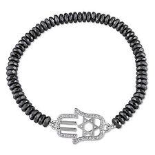 "Amour 14 1/6 Ct Tgw Hematite And Cubic Zirconia Bracelet in Brass, Length 7"""