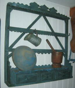 OUTSTANDING ANTIQUE WALL CUPBOARD,BOWL RACK EXCELLENT FORM, OLD BLUE PAINT NR