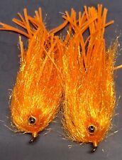2 ORANGE CRAZY LEG ICE LEECH FLIES. FLY FISH ALASKA, TROUT, BASS, PIKE. STREAMER