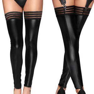 Women Sexy Footless High Stockings PU Leather Wetlook Thigh-Highs Socks Clubwear
