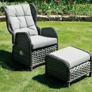 Gartensessel grau Fußhocker Verstellbar Poly Rattan Geflechtsessel Sessel