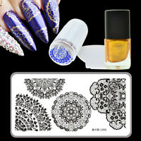 Nail Art Stamping Schablonen Lace Muster & Stempellack Jelly Stamper Scraper