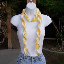Cotton Summer Scarf Yellow & White Skinny Narrow Small Lightweight Crochet Knit