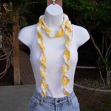 Cotton Summer Scarf Yellow & White Skinny Narrow Small Lightweight Crochet Knit