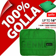 "Golla 16"" for 15.6"" 15.4"" Green Laptop Sleeve Bag Padded Carry Case Slim +Handle"
