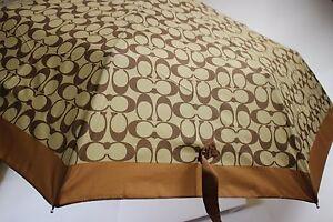 """NWT $85 COACH Khaki and Saddle Signature """"C"""" Automatic Retractable Umbrella"""