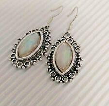 Silver Tone Oval Faux Moonstone Drop Earrings