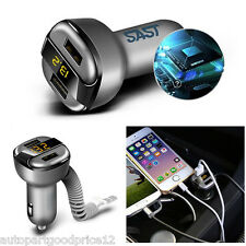 Dual USB Smart Car Charger Adapter w/ Voltage/Current Display For iPhone Android