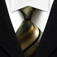 QS19 Brown Gold Black Stripe Silk Classic Elegant Jacquard Woven Men Tie Necktie