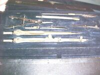 VINTAGE GERMANY COMPASS Set from TECHNICAL SUPPLY CO. SCRANTON & NEW YORK W/CASE