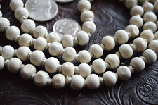 Calming Om Holy Basil Tulsi Hand Knotted Japa Mala 8mm 108 Prayer Beads Necklace