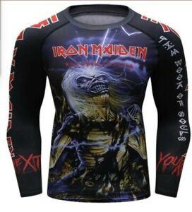 Iron Maiden Long Sleeve BOOK OF SOULS Rashguard Shirt Fightwear Cody Lundin XL