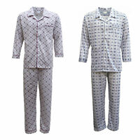New Mens Cotton Pajamas Pyjamas PJs Set Long Sleeve Shirt Tops + Pants Sleepwear