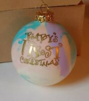 IOB VTG Handpainted Glass Ball BABY'S FIRST CHRISTMAS Ornament