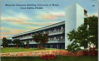 Memorial Classroom Building Univ. of Miami Coral Gables FL Vintage Postcard AU1